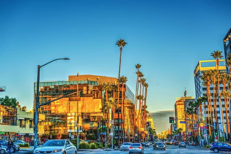 在日落的好莱坞大道 图库摄影