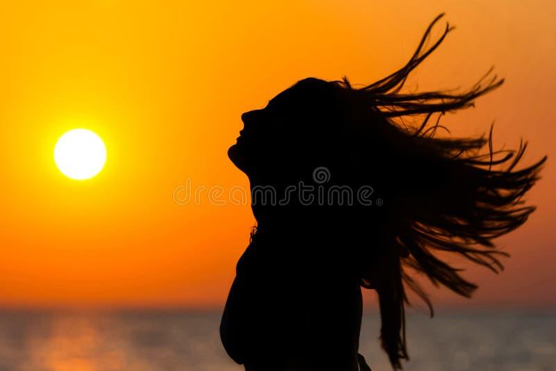 在日落的妇女挥动的头发 免版税库存图片