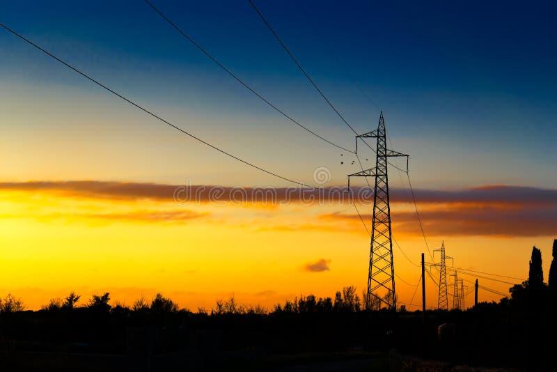 在日落的定向塔 库存照片