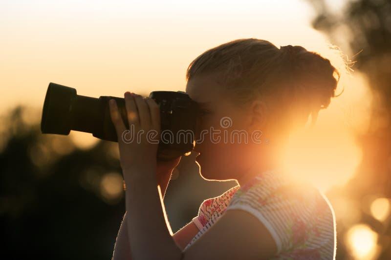 在日落的射击 免版税库存照片