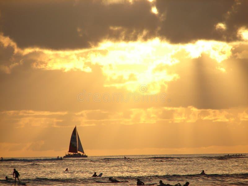 在日落的小船 图库摄影