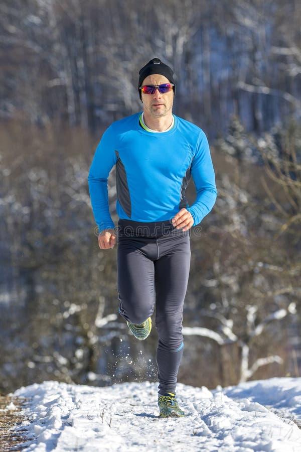 在日落的慢跑者 免版税库存照片