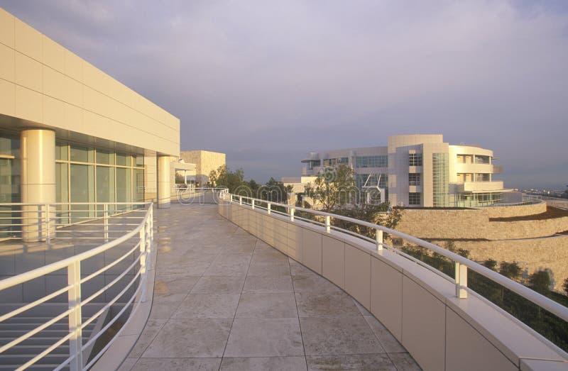 在日落的格蒂中心,布伦特伍德,加利福尼亚 库存照片
