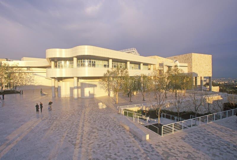 在日落的格蒂中心,布伦特伍德,加利福尼亚 免版税库存图片
