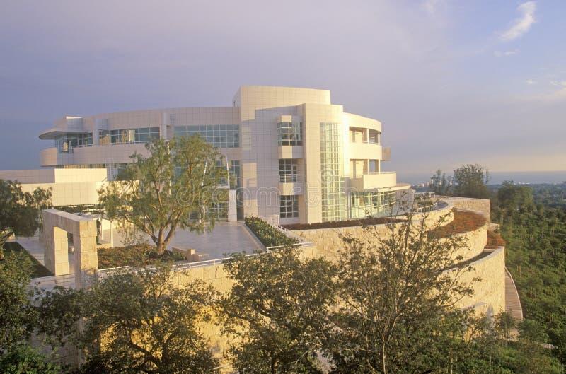 在日落的格蒂中心,布伦特伍德,加利福尼亚 库存图片