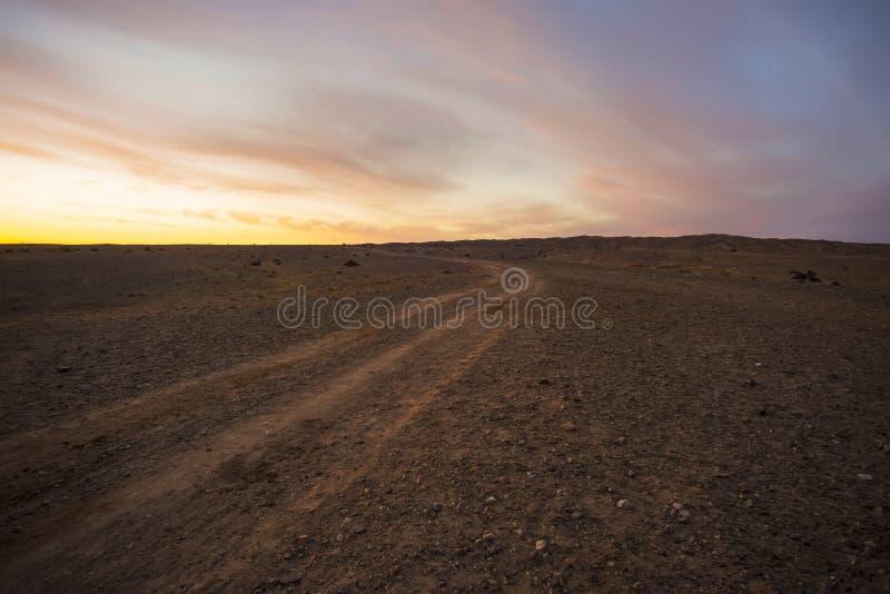 在日落的沙漠路 库存照片