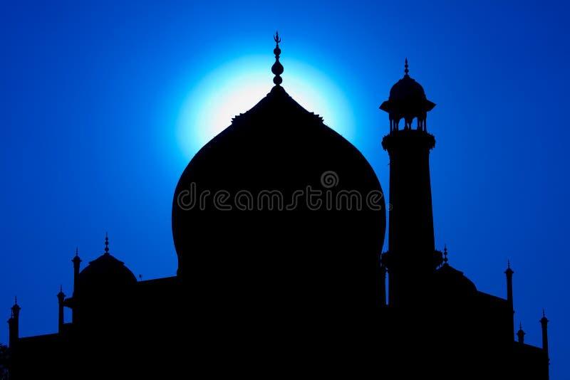 在日落的泰姬陵剪影,印度 免版税库存图片