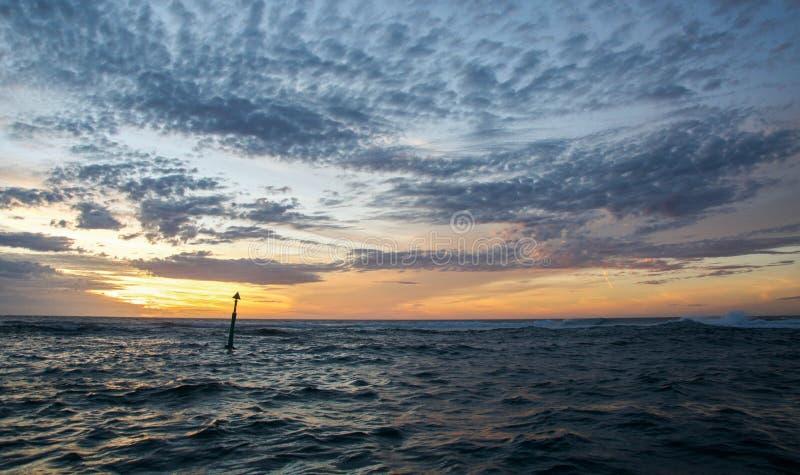 在日落的浮体 图库摄影