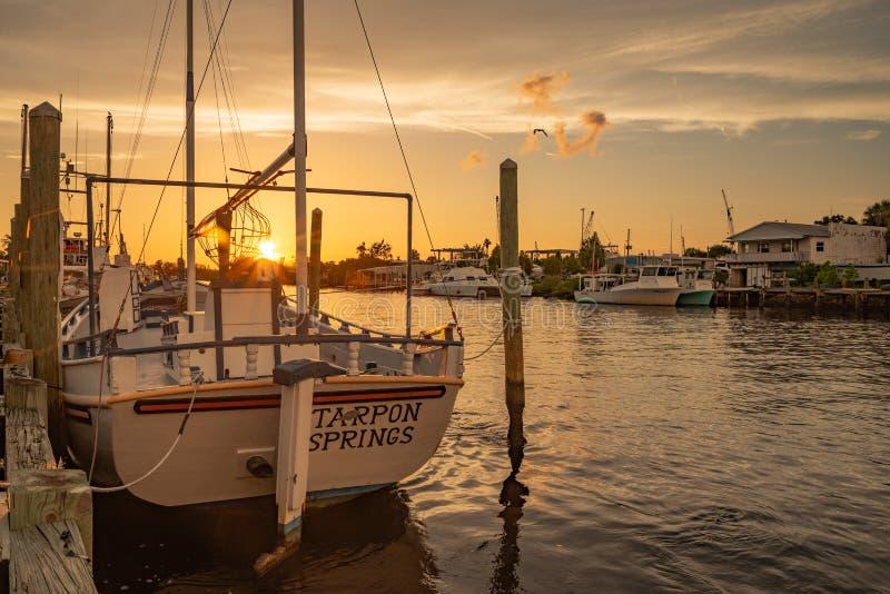 在日落的海绵渔船在塔彭斯普林斯 免版税图库摄影