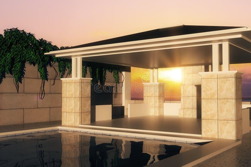 在日落的游泳池 库存例证