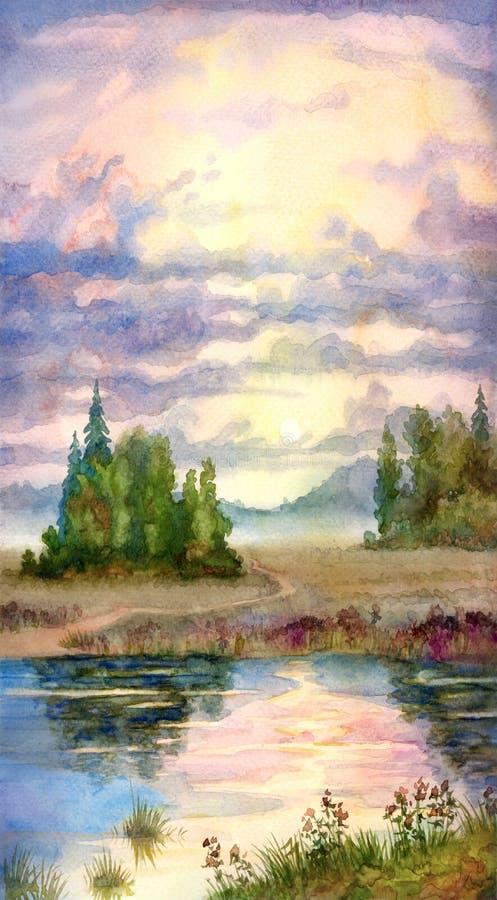 在日落的湖 向量例证