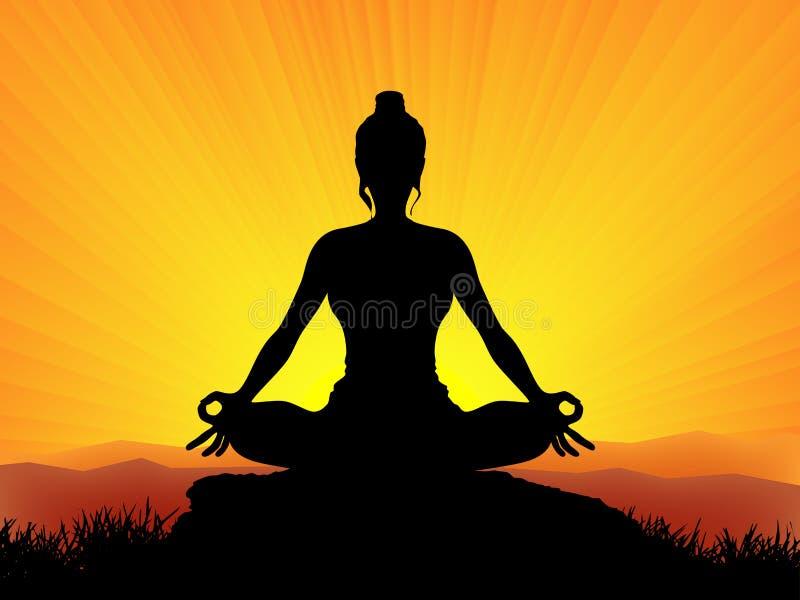 在日落的瑜伽 向量例证