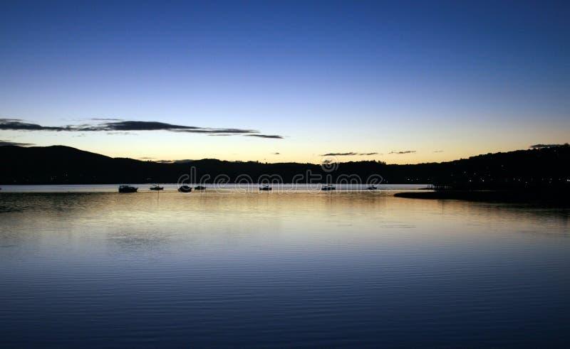 在日落的盐水湖 库存照片