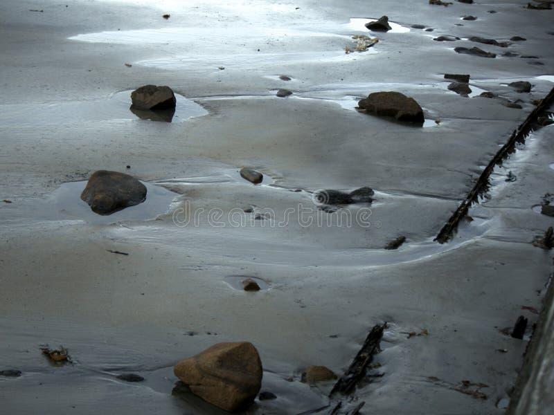 在日落的石头在海滩 免版税图库摄影