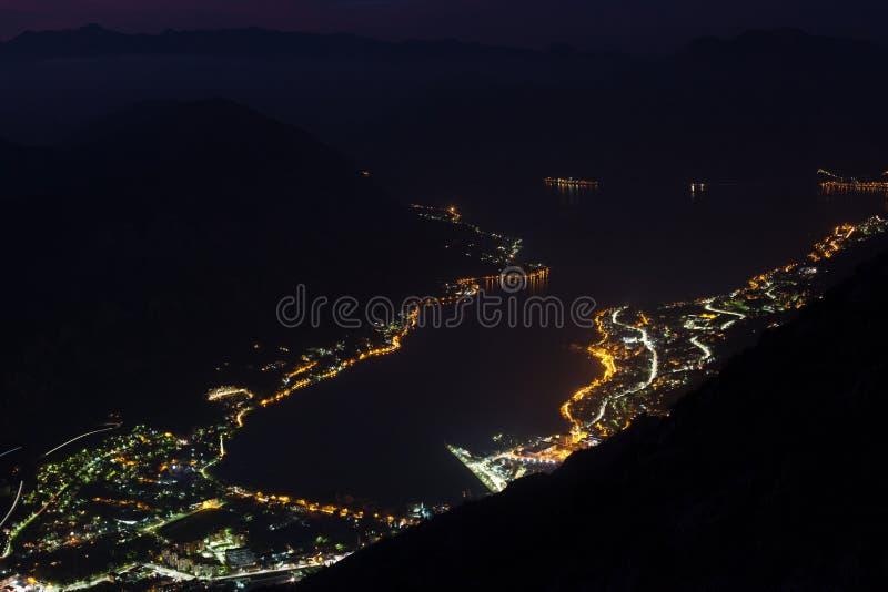 在日落的科托尔海湾-黑山 免版税库存图片