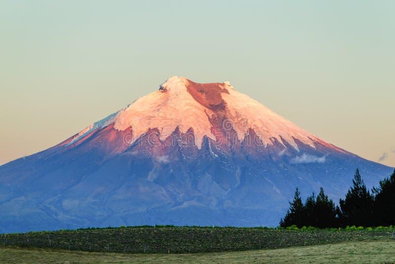 在日落的科托帕克西火山厄瓜多尔 免版税图库摄影