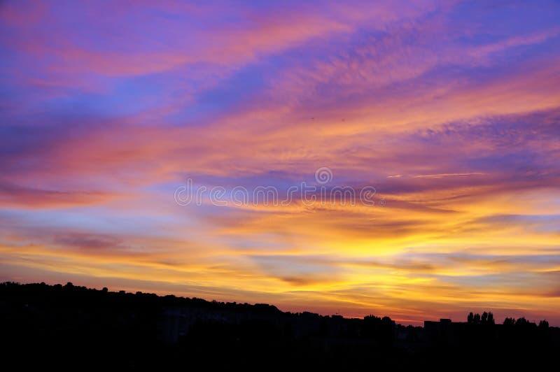 在日落的美丽的天空 库存图片