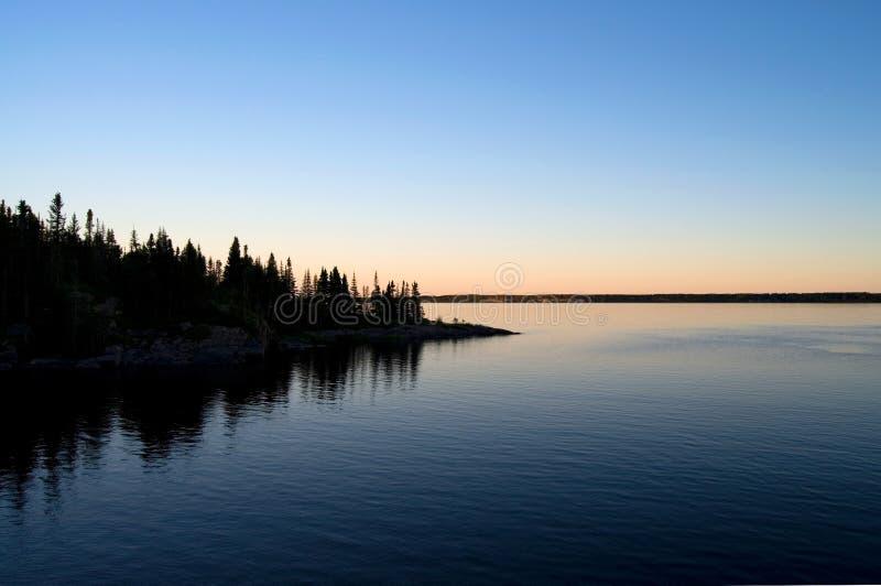 在日落的美好的北加拿大海景 图库摄影