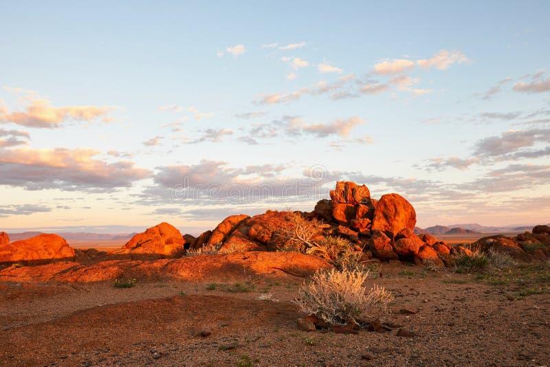 在日落的美好的纳米比亚风景 库存照片
