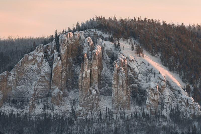 在日落的莉娜柱子在冻勒拿河在自然公园Lenskie Stolby 免版税图库摄影