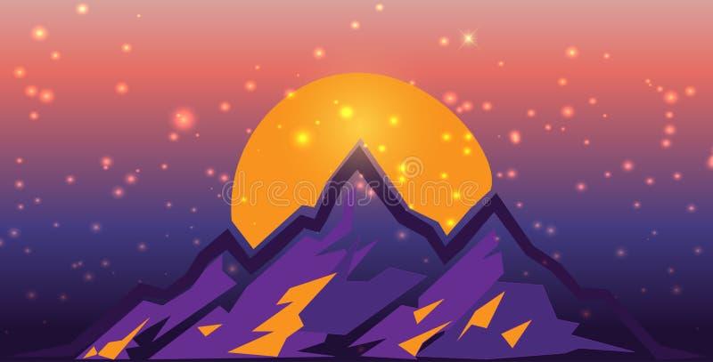 在日落的超现实的山scape与火光和光 平的设计传染媒介例证 紫色和桔子 库存例证