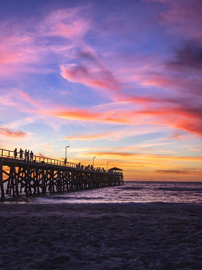 在日落的跳船剪影在农庄海滩,南澳大利亚 免版税图库摄影