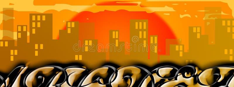 在日落的都市风景刻于墙上的文字 免版税图库摄影
