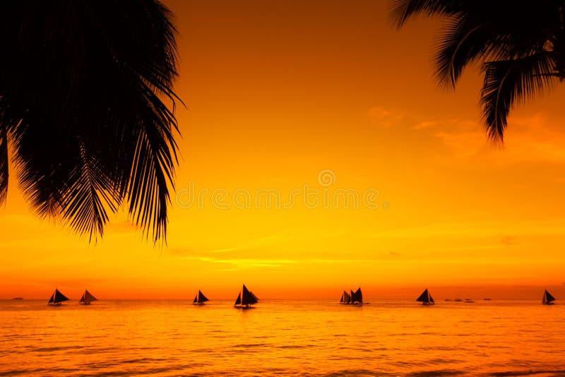 在日落的风船在热带海 在海滩的掌上型计算机 Silho 免版税库存照片