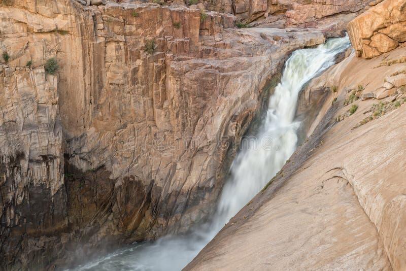 在日落的主要Augrabies瀑布 库存照片
