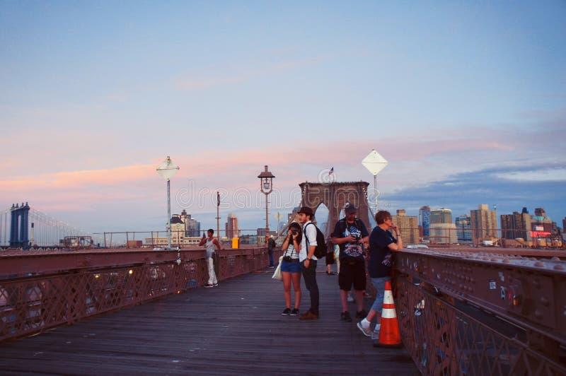 在日落的Brooklin桥梁 免版税图库摄影