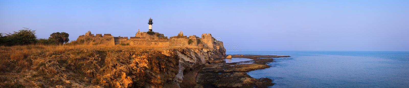 在日落的Diu堡垒 免版税图库摄影