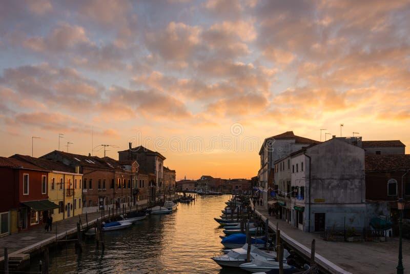在日落的Murano 免版税库存照片
