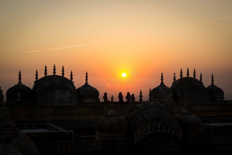 在日落的Nahagarh堡垒,桃红色市斋浦尔,拉贾斯坦,印度 图库摄影
