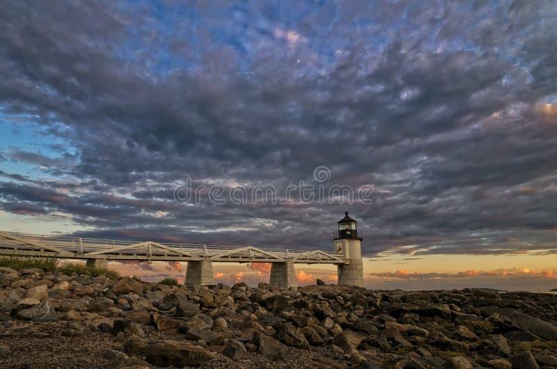 在日落的Pemaquid灯塔 库存图片
