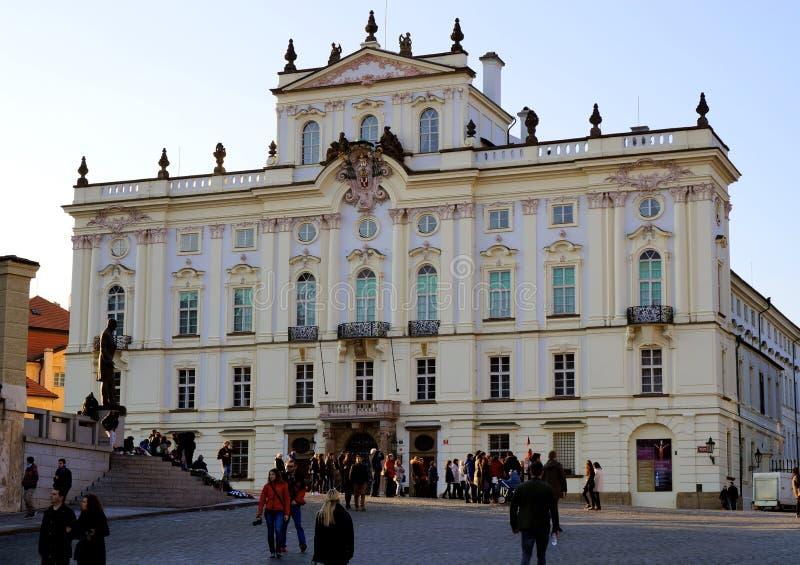 在日落的Praga 免版税库存图片