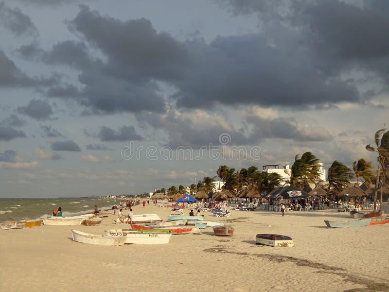 在日落的Progresso海滩 免版税库存图片