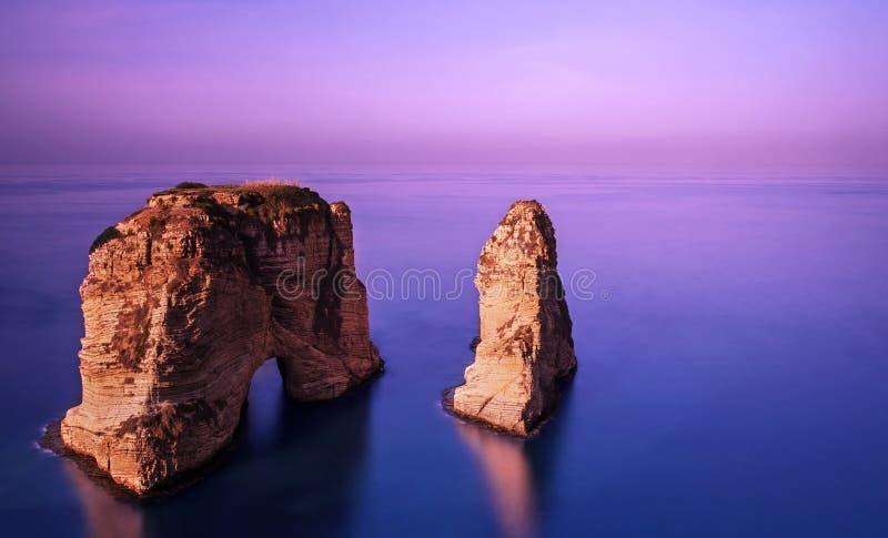 在日落的Rawsha岩石 免版税库存图片