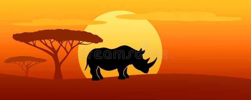 在日落的Rhinot剪影 皇族释放例证