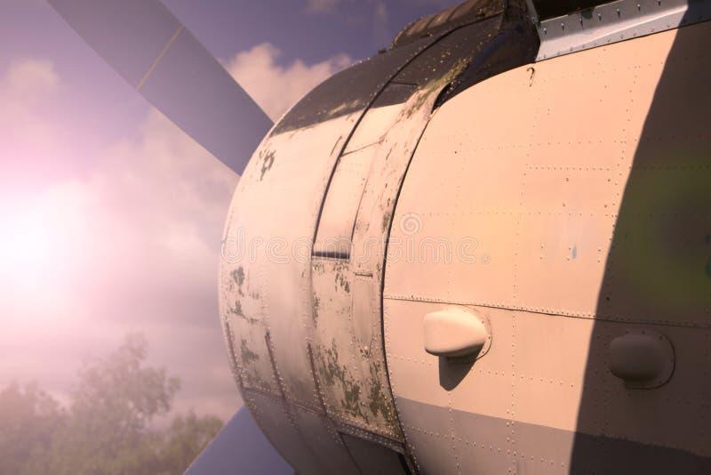 在日落的Rotorcraft 库存图片