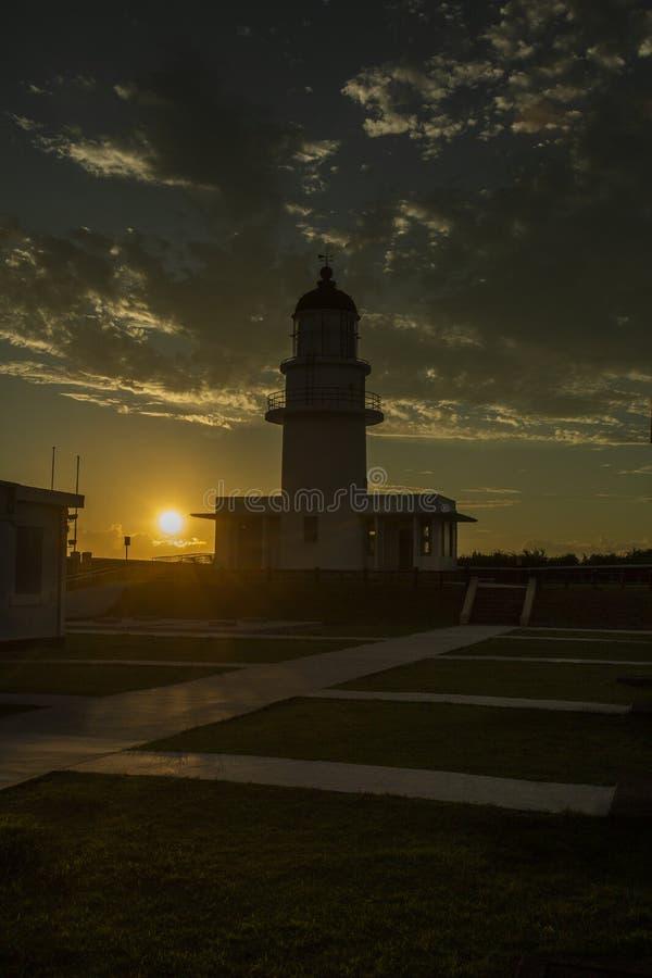 在日落的Sandiaojiao灯塔 库存照片