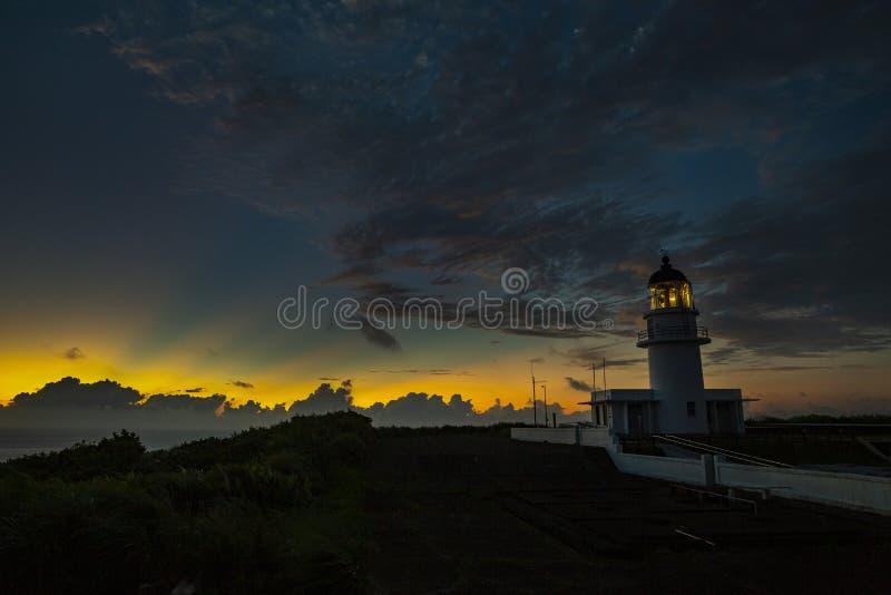 在日落的Sandiaojiao灯塔 图库摄影