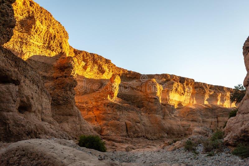 在日落的Sesriem峡谷 免版税图库摄影