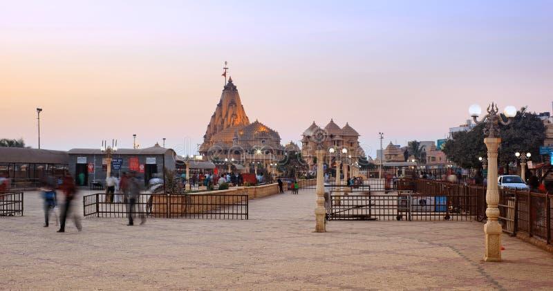 在日落的Somnath寺庙 库存照片