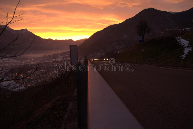 在日落的Valsugana 免版税库存照片