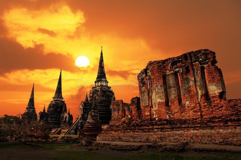 在日落的Wat Phrasisanpetch寺庙在阿尤特拉利夫雷斯历史公园 免版税库存图片