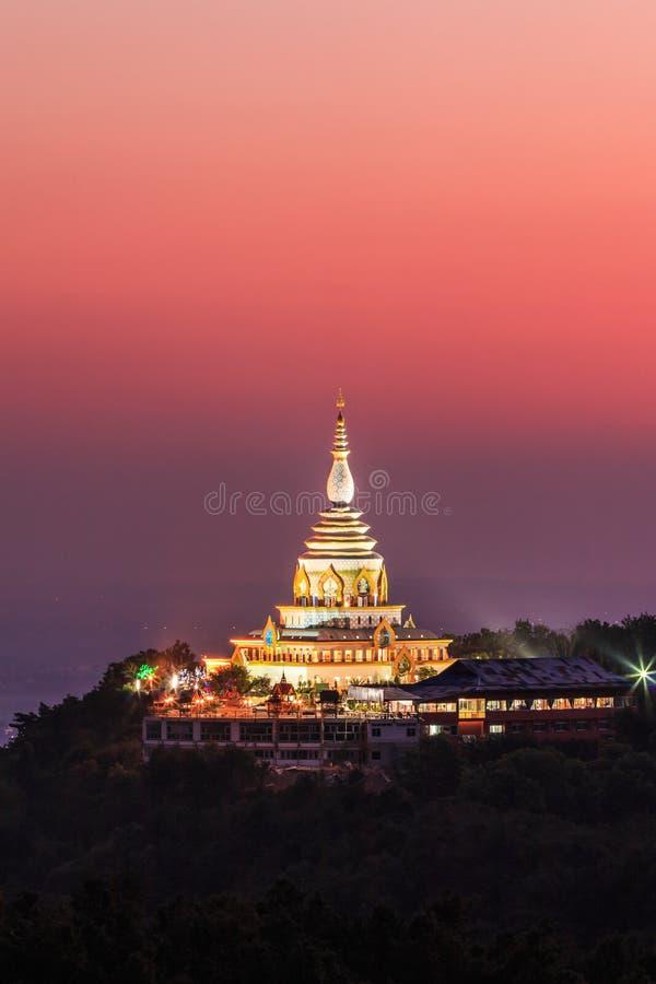 在日落的Wat Thaton,泰国 库存照片