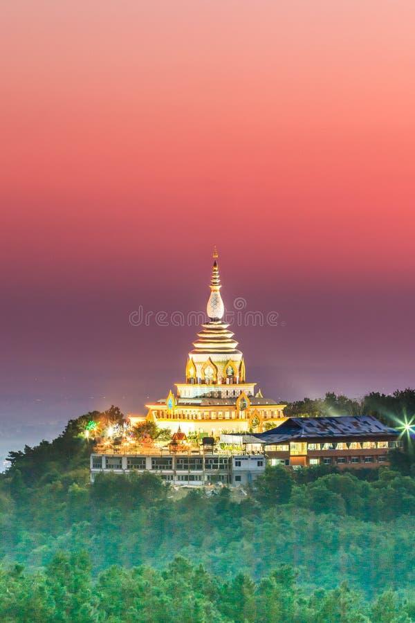 在日落的Wat Thaton,泰国 免版税库存图片