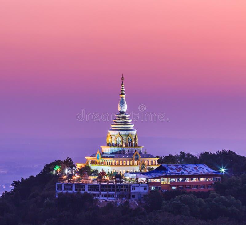 在日落的Wat Thaton,泰国 库存图片