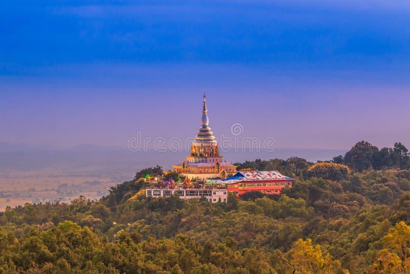 在日落的Wat Thaton 库存图片