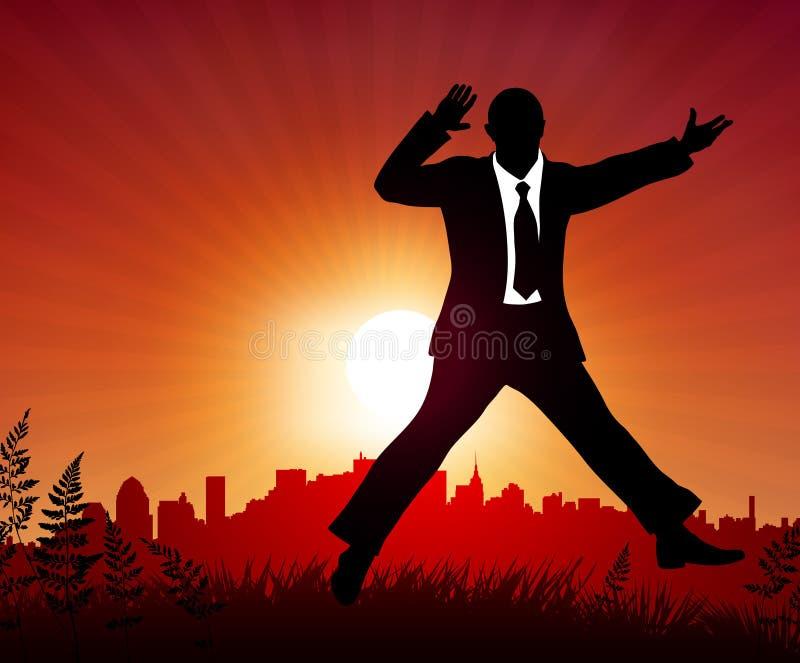 在日落背景的兴奋生意人 向量例证